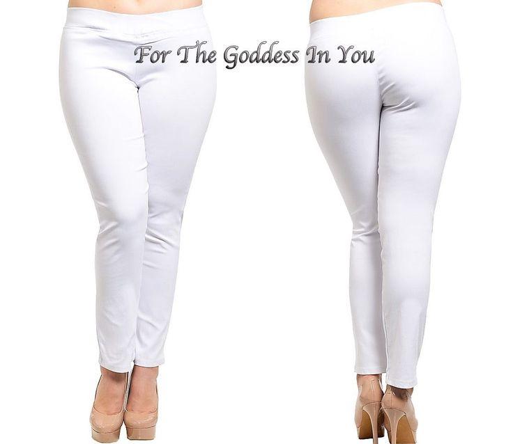 P78 White Straight Leg Stretch Jean Jegging Pull On Junior Plus 1X 2X 3X