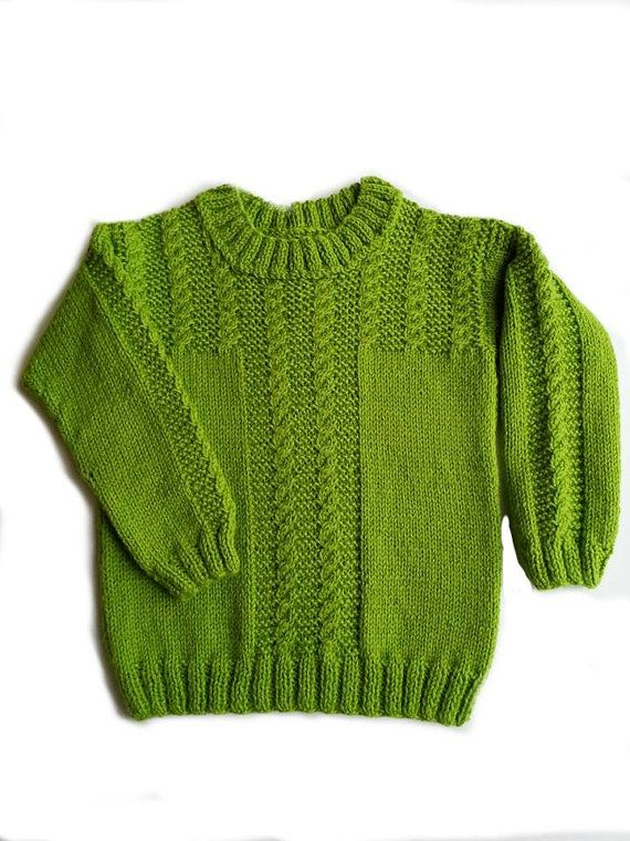 Handmade Knitted green boy sweater - wool 50 %, Size ~104