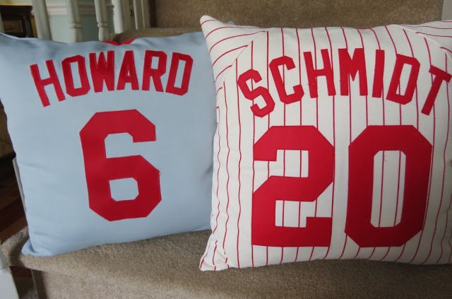 diy ~ make pillows out of outgrown baseball jerseys ~ photo tutorial ~ from june 18 2012 post @ Sweet Bee Buzzings: Stuffed Shirts ~ fun for bonus room or boys or girls room