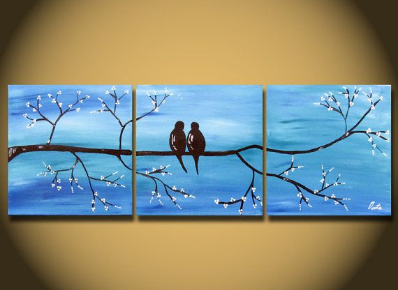 Blue Large Painting, Love Bird Wall Art, Sky Blue Cherry Tree Branch Flower Blossoms, Unique Large Custom Personalized, Multiple Canvases.