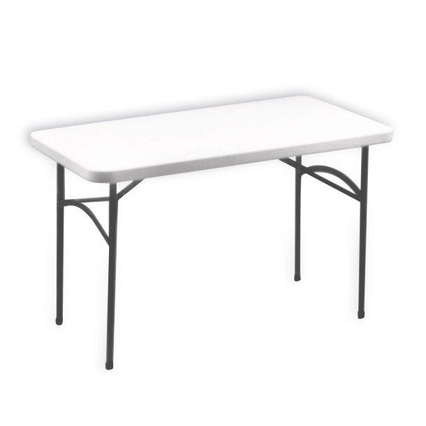 Mesa con superficie de resina con marco de acero. Patas plegables para almacenamiento. Para usar en interiores y exteriores.