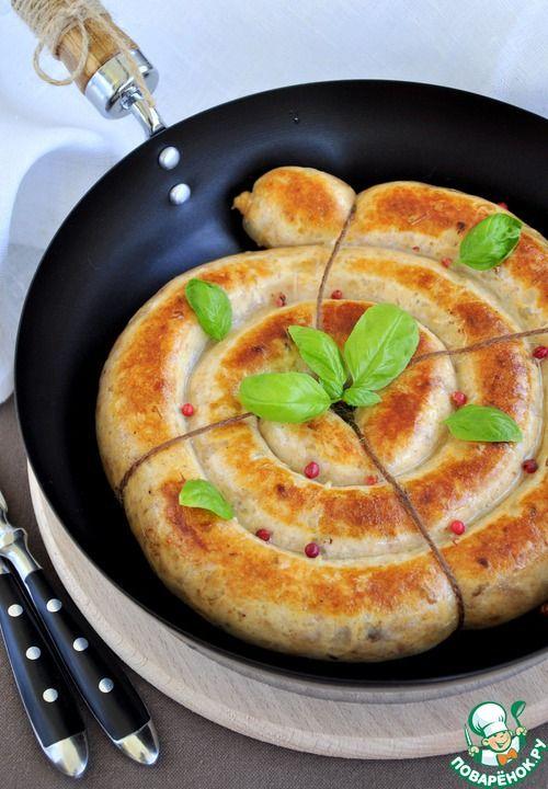 Ароматная куриная колбаса в сковороде - кулинарный рецепт