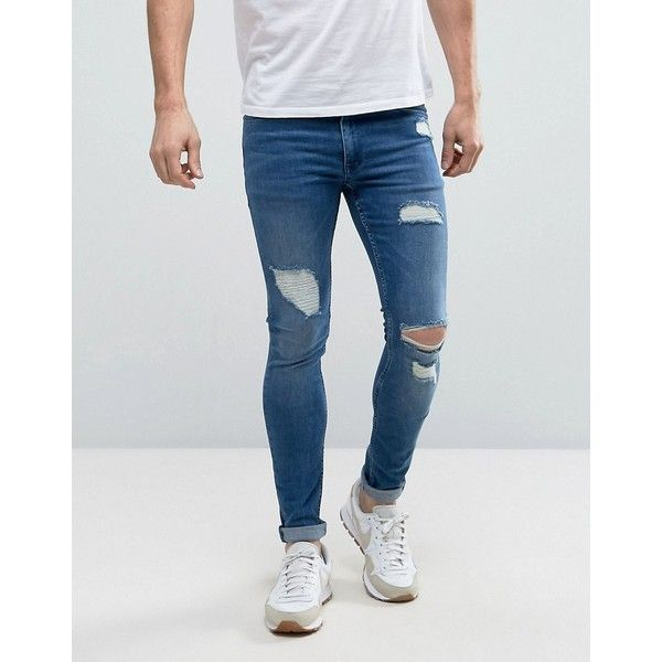 ASOS Extreme Super Skinny Jeans With Open Rips In Mid Blue (€50) ❤ liked on Polyvore featuring men's fashion, men's clothing, men's jeans, blue, mens distressed skinny jeans, tall mens jeans, mens flap pocket jeans, mens blue jeans and mens skinny fit jeans