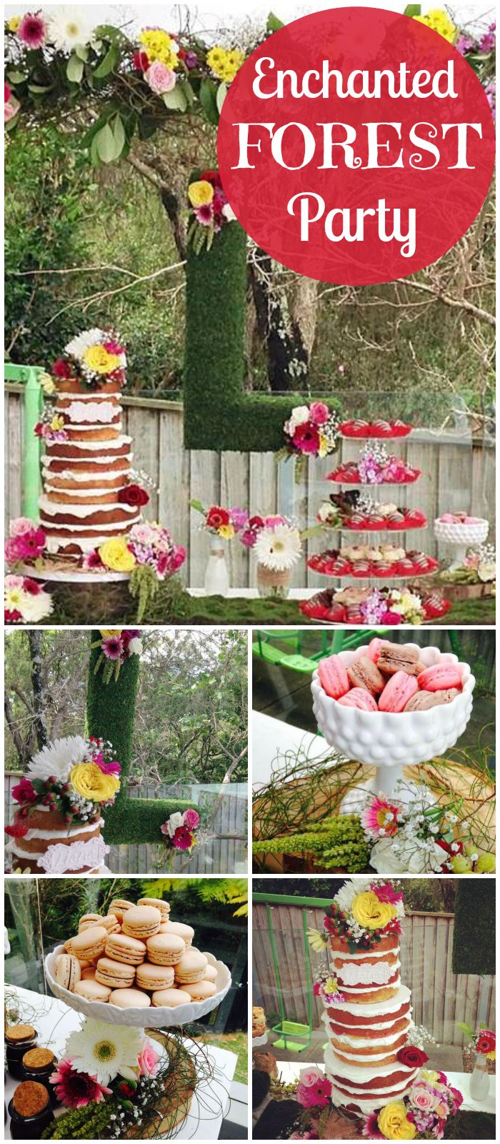 You have to see this gorgeous forest party! Lovely layer cake and macarons! See more party ideas at CatchMyParty.com!