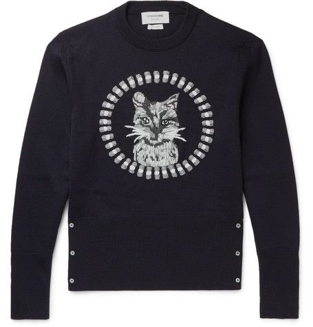 THOM BROWNE Cat-Embroidered Wool Sweater. #thombrowne #cloth #knitwear