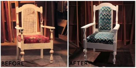 Don't be discouraged by a chair's chipped paint or torn fabric. Lara brought new life to this cane-back chair with crisp white paint and bold fabric.