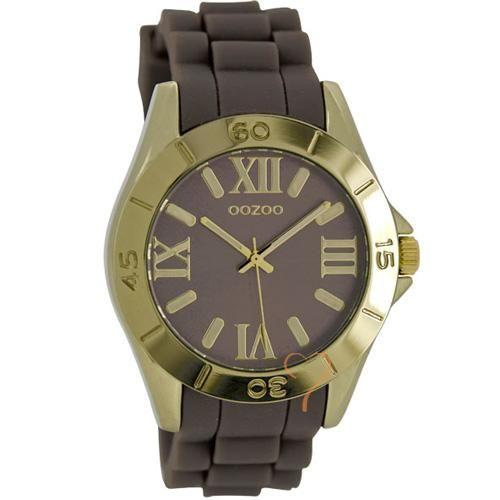 Ρολόι Oozoo Timepieces 40mm Gold Case - Brown Rubber Strap