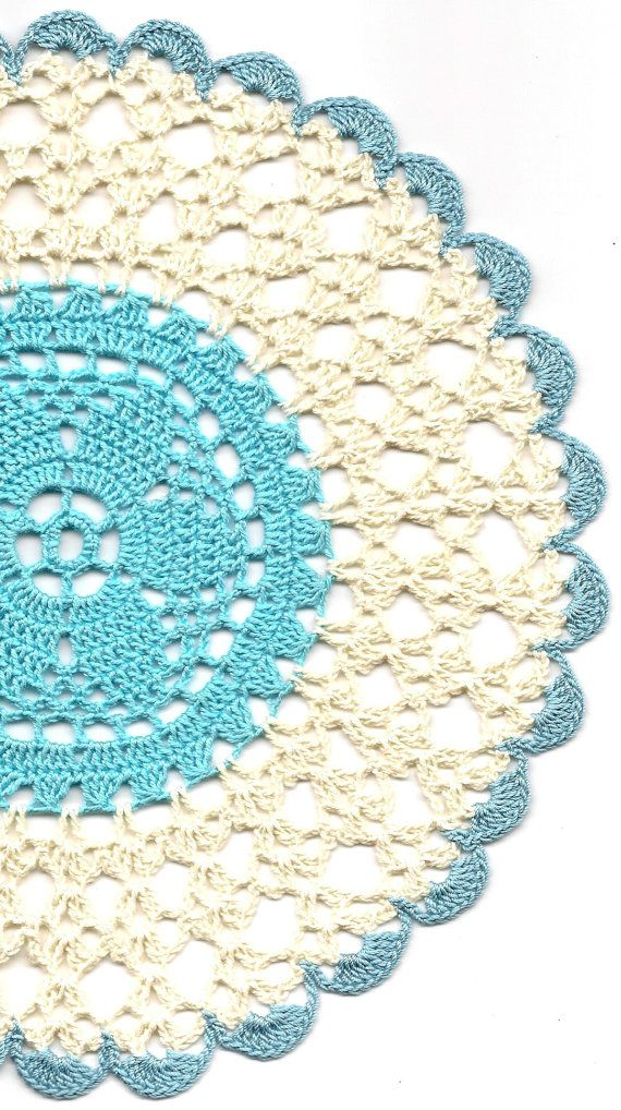 Crochet doily, lace doily, table decoration, crocheted place mat, center piece,doily tablecloth, turquoise, napkin, aqua, handmade doilies via Etsy