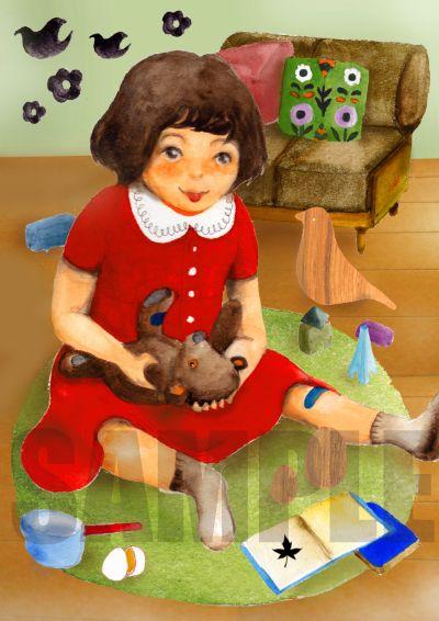 ●出産祝いの絵本「祝福の本」のためのイラスト。(透明水彩、Photoshop ) ●作画はイラストレーターの鈴木匠子さん。 http://www.kinende.com/shopdetail/028000000001/