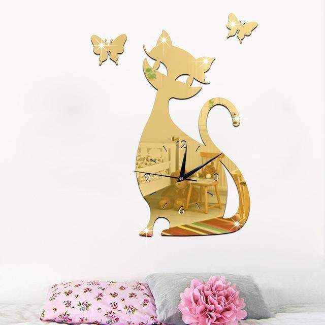 Cat Wall clock Mirror 4 colors to choose from