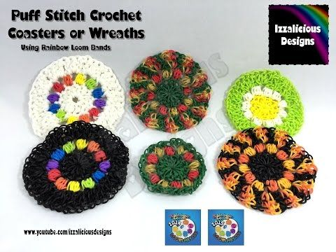 Loomigurumi Crochet Coaster | Wreath | Decoration using Rainbow Loom Bands - YouTube. She has a pic stitch tutorial in a separate video.