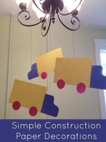 ... Construction Paper Birthday Party Decorations  We, Trucks and Paper