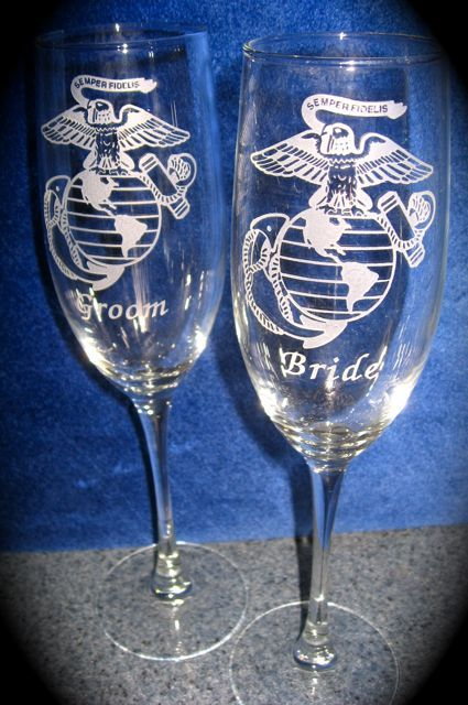 Personalized Engraved US Marine Corps Wedding glasses to order go to this page http://shop.sowersglassengraving.com/Selection-Crystal-Military-Wedding-Champagne-Glasses-ArmyCRFLT.htm
