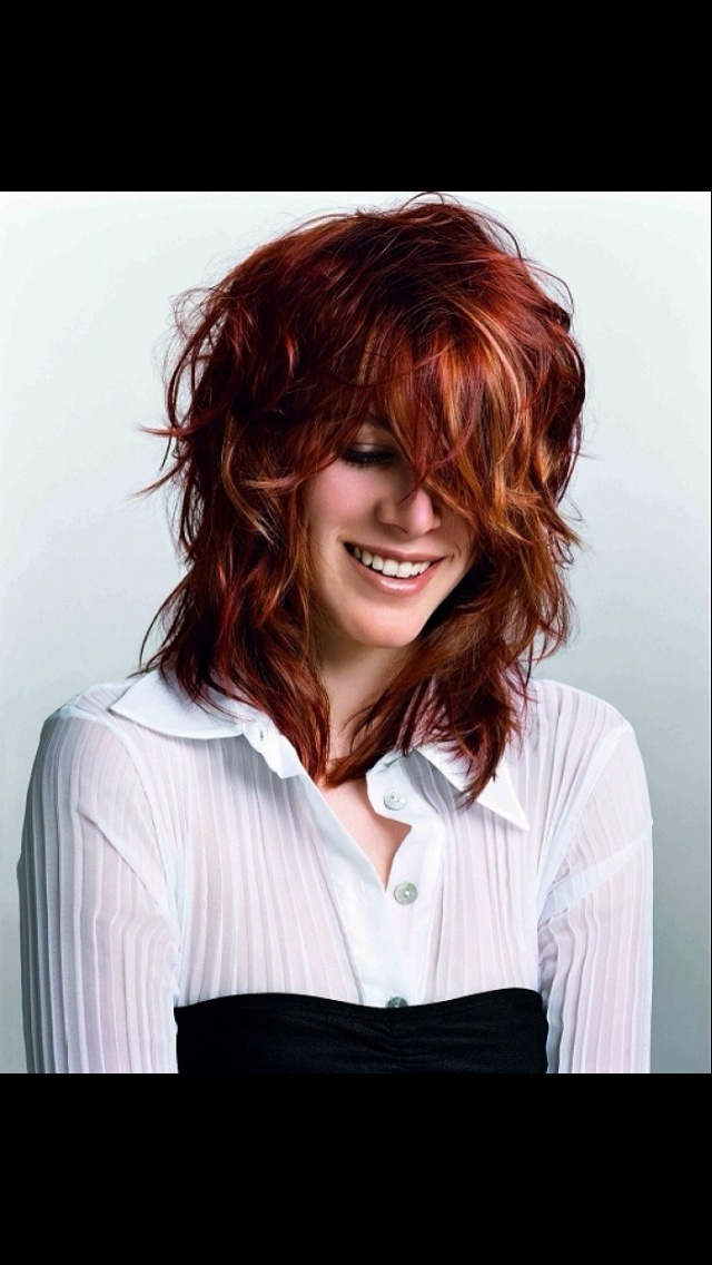 Red brown hair with light brown highlights
