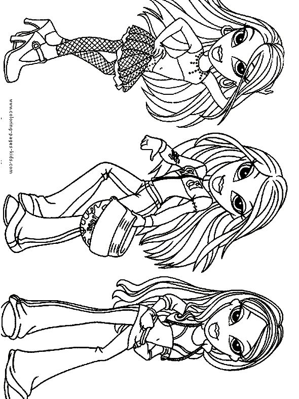 bratz color page cartoon characters coloring pages color plate coloring sheetprintable coloring - Bratz Coloring Book