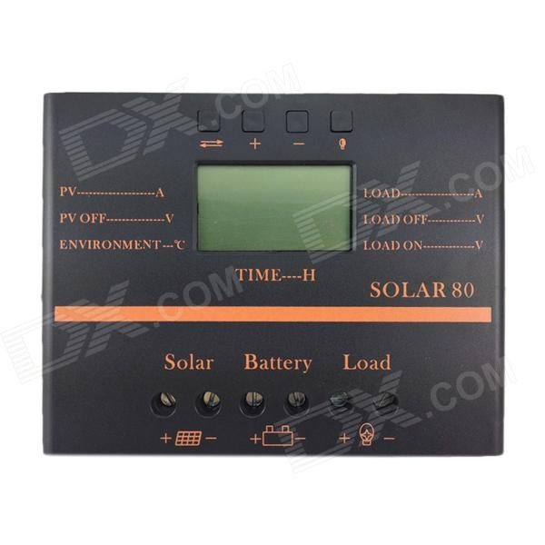 TWP Solar80 2.4 LCD 80A 12V /24V PV Panel Battery Charge Solar Controller - Black + Orange