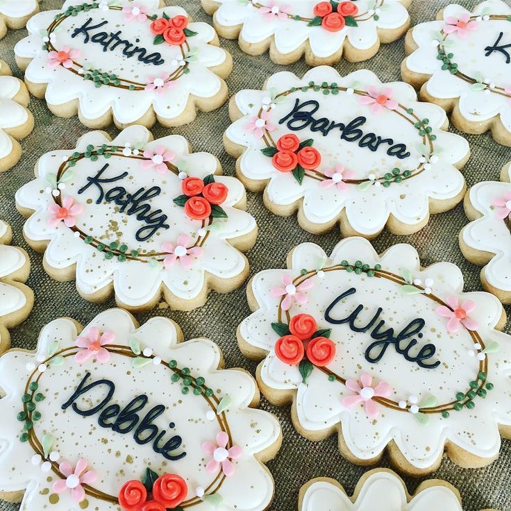 personalized place card cookies for bridal shower! ...@melissajoycookies