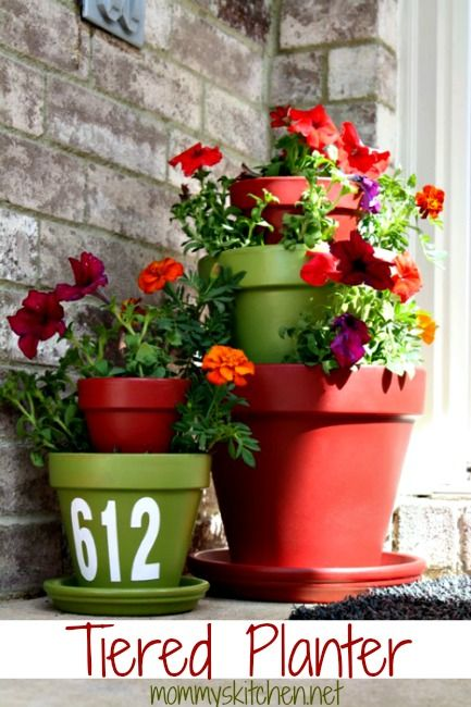 DIY Terra Cotta Tiered Planters via @Jackie Godbold Godbold Godbold Robinson Sprangers's Kitchen (Tina Butler) -- so cute, love the house numbers!