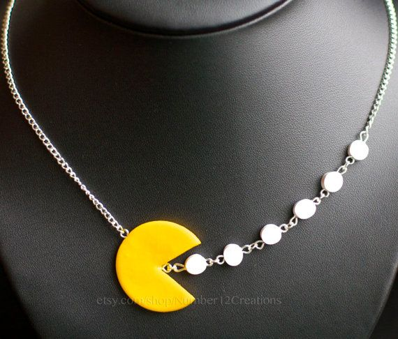 Pacman necklace by Number12Creations on Etsy, $38.00