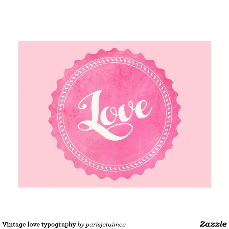 Vintage love typography postcard #love #pink #love #vintage