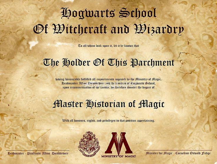 Official hogwarts diploma poster history of magic by eaaasytiger diploma poster hogwarts for Hogwarts diploma