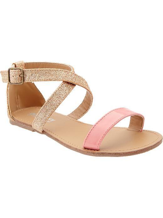 Girls Glitter Ankle-Strap Sandals: shoes for the flower girls??