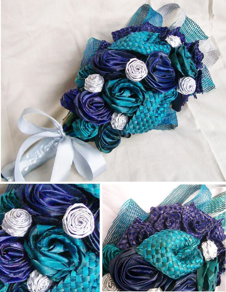 Armheld blue, purple and turquoise bridal bouquet with silver plaited flax buds