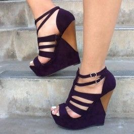 Purple Strappy Platform Wedges Faux Suede $24.99