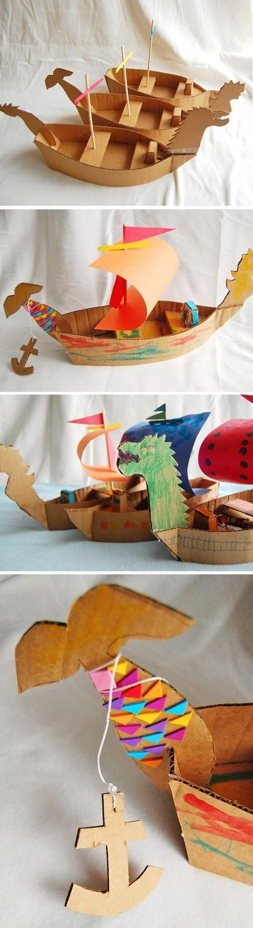 """DIY Cardboard Ships-Put simple basic directions on a chart in an """"after I'm finished"""" center. Add a few pictures of ships and boats for reference, some books (Thanksgiving-Native American, Miss Rumphias) and let kids practice following written directions for the basic craft and create, create, create."""