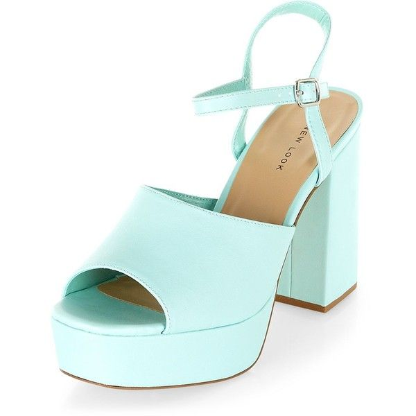 Mint Green Chunky Peep Toe Ankle Strap Heels (20,165 KRW) ❤ liked on Polyvore