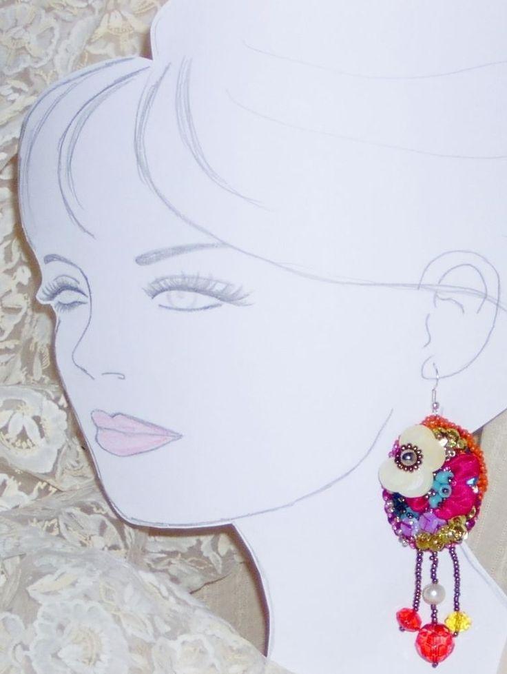 ORECCHINI  earrings RICAMATI a MANO boucles d oreilles Perle fiori BOHO CHIC