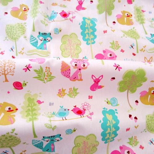 1 meter cartoon Squirrel forest 100% cotton twill cloth bedding DIY for sewing patchwork quilt baby chic fabric width 1.6m