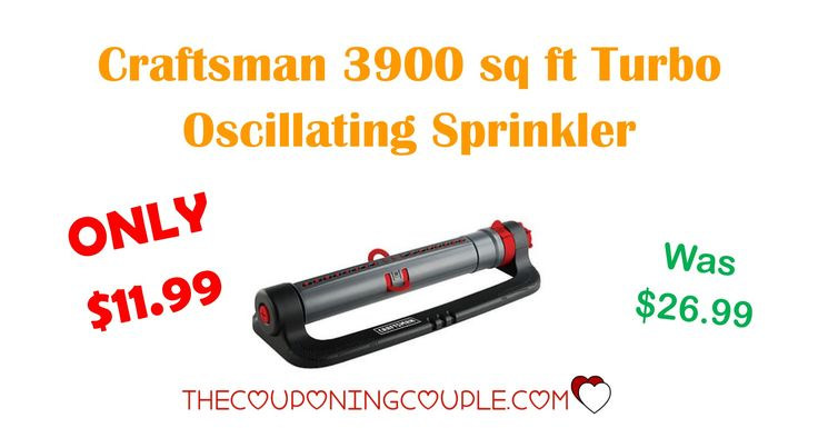 Snag this awesome Craftsman 3900 sq ft Turbo Oscillating Sprinkler for ONLY $11.99 (was $26.99)! Great price for a great sprinkler!  Click the link below to get all of the details ► http://www.thecouponingcouple.com/craftsman-3900-sq-ft-turbo-oscillating-sprinkler-only-11-99/ #Coupons #Couponing #CouponCommunity  Visit us at http://www.thecouponingcouple.com for more great posts!