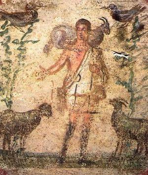 Lo que los romanos identificaban como la idea de la humanidad representada por un hombre cargando una oveja sobre sus hombros, los cristianos lo tomaron como un símbolo de Cristo el Buen Pastor