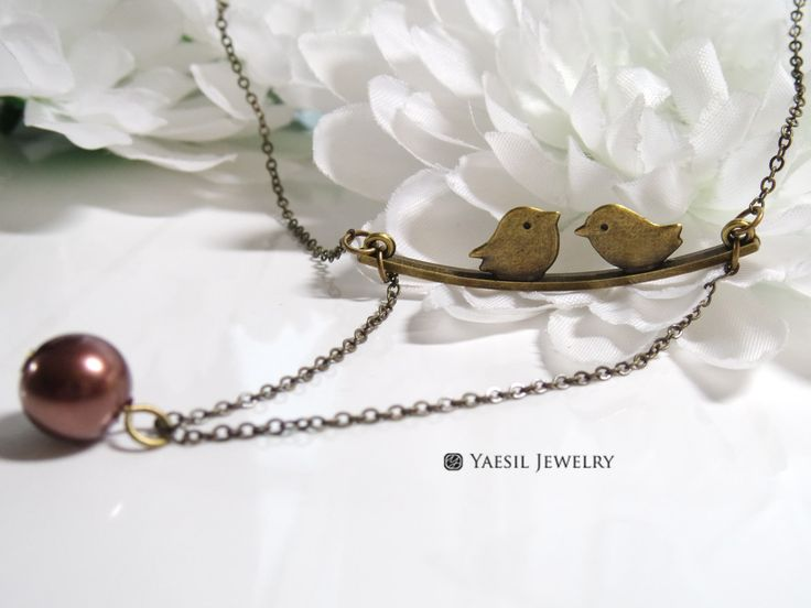 Love Birds on Branch Necklace, Antique Brass Necklace, Quality Brass Charm Necklace, Mother's Birthday Gift by YaesilJewelry on Etsy