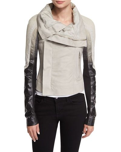 Colorblock Zip-Front Biker Jacket, Pearl by Rick Owens