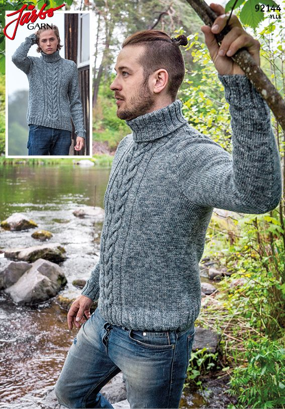 Men's sweater with braids and polo neck.