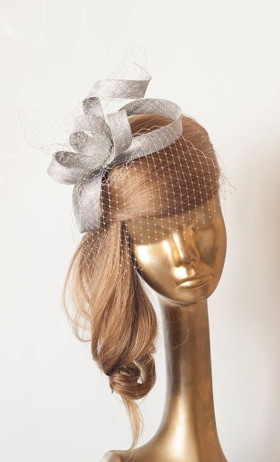 Silver Grey FASCINATOR . Sterling Silver Sinamay Bridal  c9d44032009