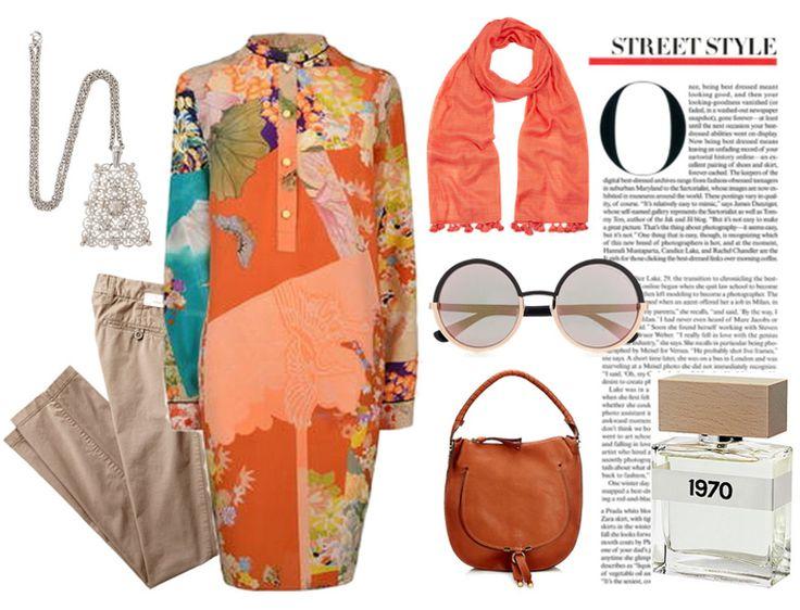 Tesettür Kombin - Günümüzde 70'ler modası - Desenli tunik kombini http://www.yesiltopuklar.com/gecmisten-gelen-trend-70ler.html