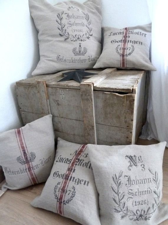 Housse de coussin en lin naturel impression sac de grains vintage