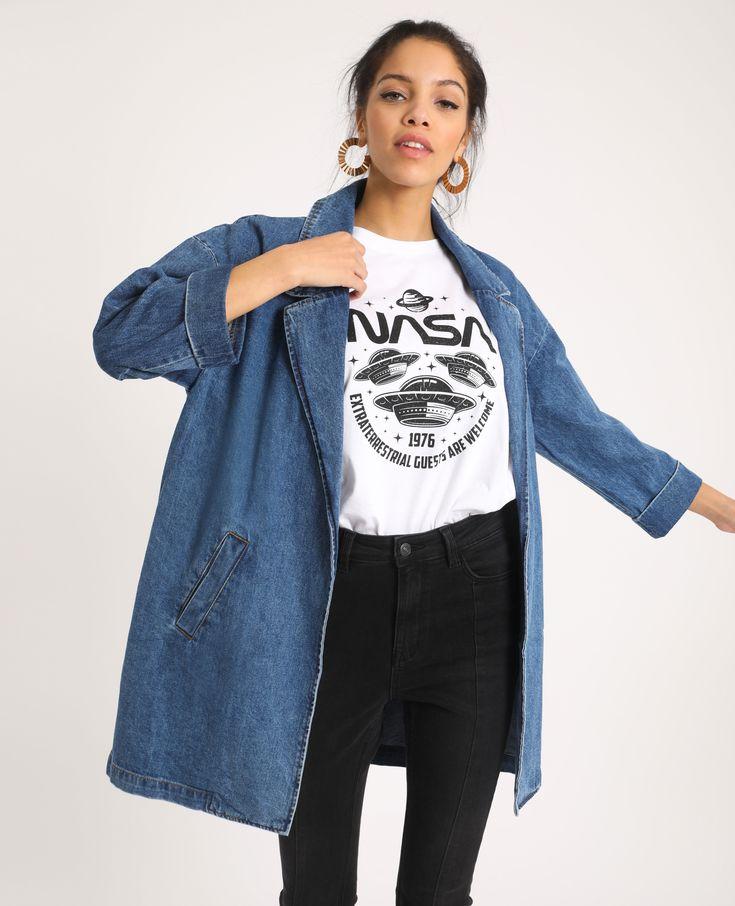 langer jeansmantel denimblau 50 280251683a06 pimkie
