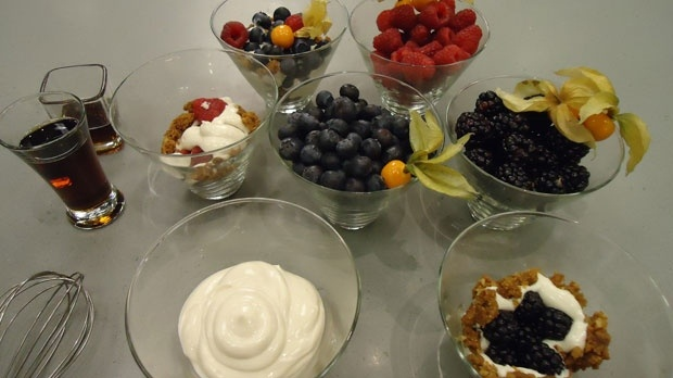 Here's all you need to make a fresh, healthy and tasty parfait.  Ingredients here:  8 oz package Low fat cream cheese  - 1/4 cup Low fat or fat free sour cream  - 1/4 cup plus 2 tbsp Pure maple syrup  - 2 cups Fresh berries or fruit  To find out how to make this tasty treat - Read more: http://atlantic.ctvnews.ca/ctv-news-at-5/low-fat-no-sugar-parfait-1.1039865#ixzz2DA0zMpJG
