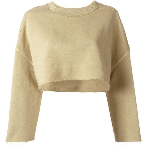 Yeezy Adidas Originals by Kanye West cropped sweatshirt (€535) ❤ liked on Polyvore featuring tops, hoodies, sweatshirts, sweaters, shirts, 3/4 length sleeve shirts, cotton crop top, 3/4 length sleeve tops, 3/4 sleeve cotton shirts and cotton shirts