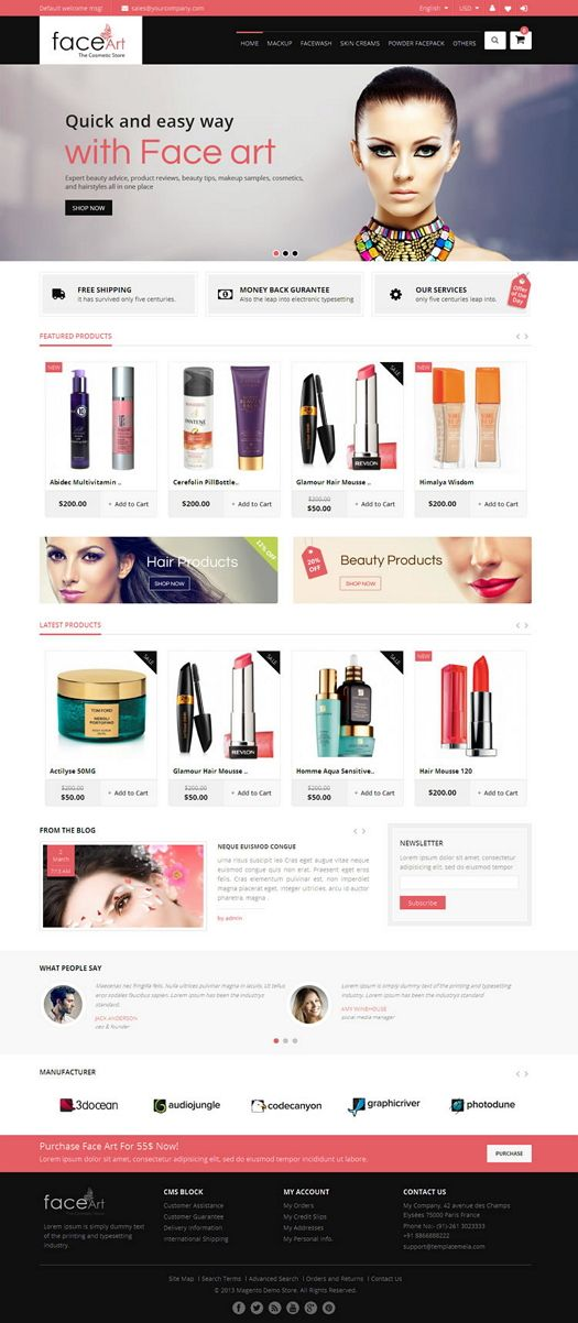 Face Art #Magento Responsive #Theme is specially designed for #beauty, #cosmetic, #women and #fashion #stores.  #website   Face Art Magento Responsive Them...