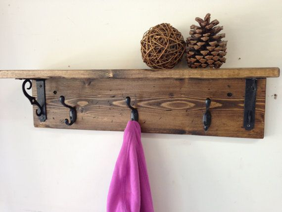 Rustic wood wall coat hook rack with shelf and 3 hooks -  vintage, distressed, iron, handmade coat rack