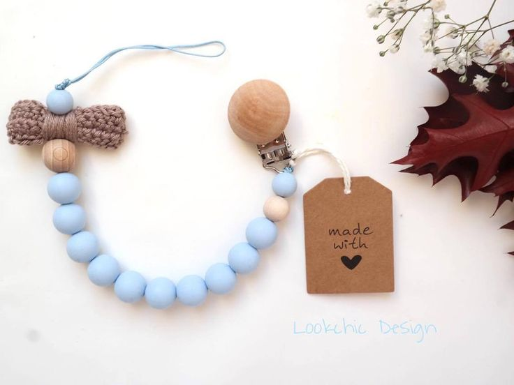 Dummy Chains – Blue dummy chain, pacifier clip, pacifier holder – a unique product by LookchicDesign on DaWanda