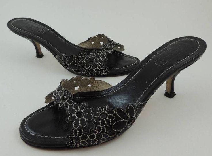 Coach Clarissa Black Leather Floral Open Toe Kitten Heels Mules