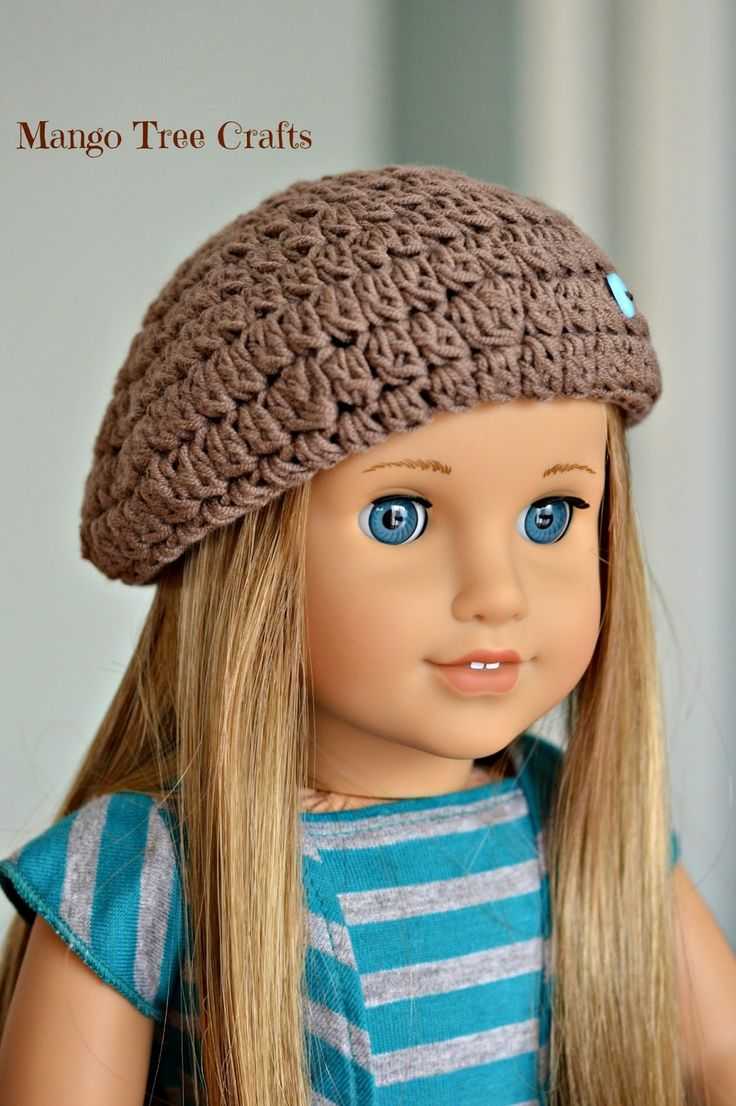 Cute crochet beret hat for American girl doll . Free pattern from Mango Tree Crafts