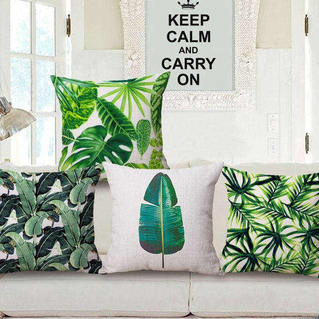 mode haute qualit coton lin afrique plante tropicale feuille de bananier d coratif coussin case. Black Bedroom Furniture Sets. Home Design Ideas