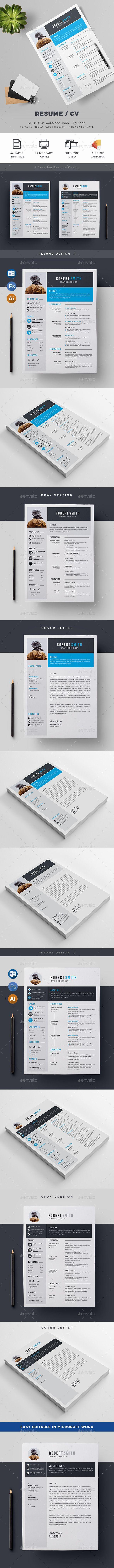 Resume Template MS WORD, PSD & Illustrator